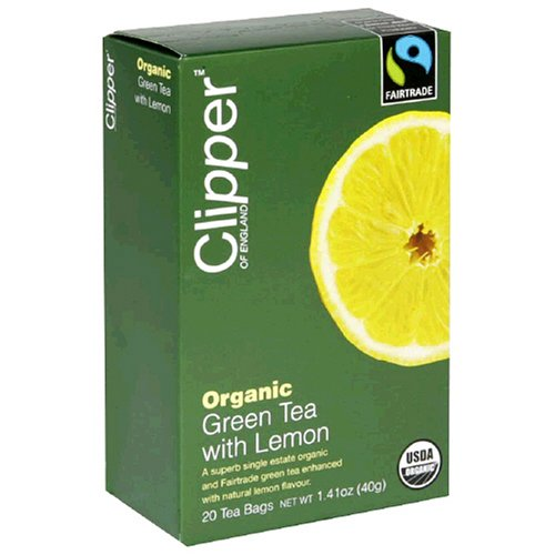 Clipper of England Organic Green Tea with Lemon, 20-Count Tea Bags (Pack of 6)