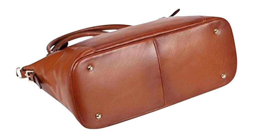 By Olivia - Women's Vintage Soft Genuine Leather Tote or Large Shoulder Bag with Outside Side Zipper Pocket by Olivia (Image #2)