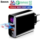 Baseus 45W Super-Fast Quick Charger 4.0 Digital Display Wall Charger with Auto-Shut Down Dual Charging Port USB and Type-C
