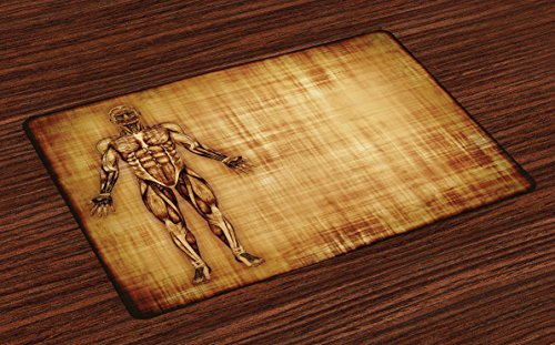 Ambesonne Human Anatomy Place Mats Set of 4, Grunge Old Parchment Effect Skeleton Muscles of Human Body Retro Art Print, Washable Fabric Placemats for Dining Room Kitchen Table Decor, Pale Brown