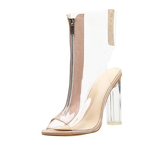 photos officielles f46ca 914e0 Bottines Transparentes à Talons,OveDose Été Mode Femme Chaussures Chic  Brides Cheville Cuir Sexy Sandales Peep Toe High Heels