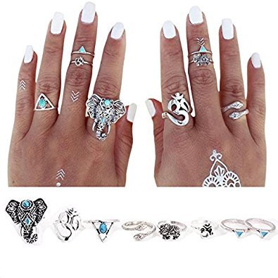 Rings Set;START 8PCS/Set Bohemian Elephant Head Arrow Moon Snack Turquoise Rings ()