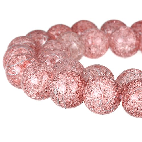 RUBYCA Round Crackle Druk Czech Crystal Pressed Glass Beads for Jewelry Making 8mm Strand (Pink)