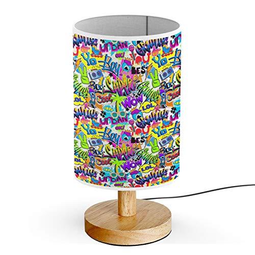 Queen Patterns Wood Base Decoration Desk Table Bedside Light Lamp (Comics Palm)
