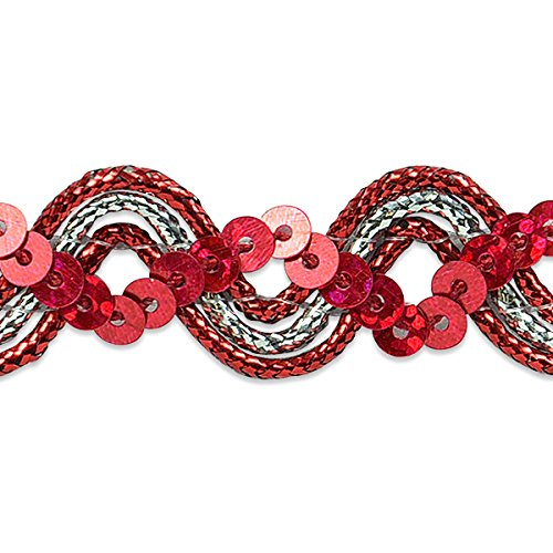 Expo International Karmen Sequin Metallic Braid Trim Embellishment 20-Yard Orange//Silver