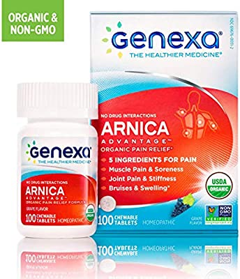 Genexa Arnica Advantage – 100 Tablets | Certified Organic & Non-GMO, Physician Formulated, Homeopathic | Pain Relief Medicine