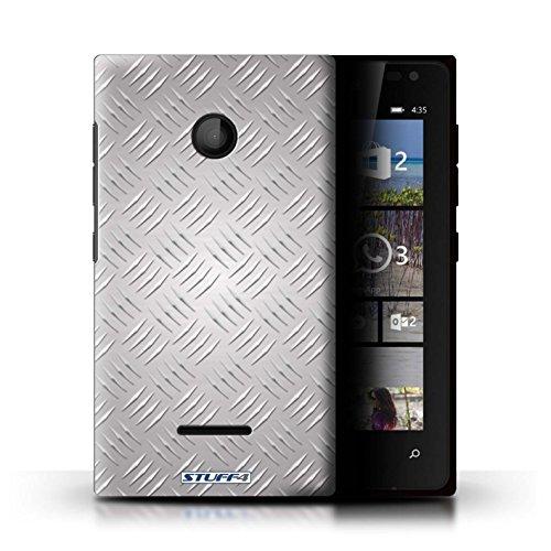 Coque de Stuff4 / Coque pour Microsoft Lumia 435 / Argent Design / Motif en Métal en Relief Collection