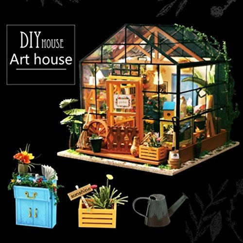 Christmas Themed Model Greenhouse, Lotus.flower DIY Wooden Hand Assembled House Furniture Handcraft Miniature Box Creative Gift 3D Puzzle Educational Toy (Model 3 Greenhouse)