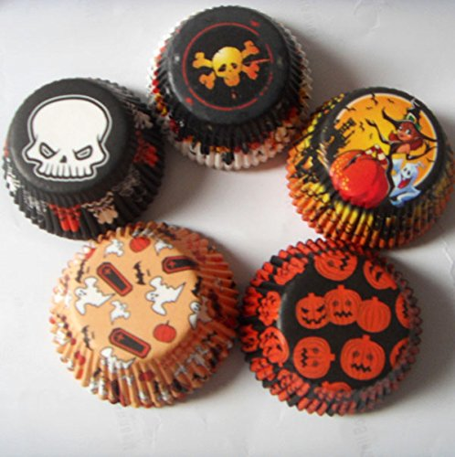 mix 5 halloween designs Witch,Skull Muffin Cupcake Liners Paper case Baking Cups 500 pcs,Standard Size