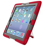 ShockWave Ultra-Protective Rugged New 2017 iPad 9.7 case with stand and screen protector, by UZBL (Red)