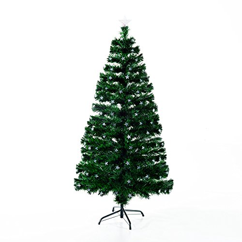HomCom 7' Tall Pre-Lit Artificial Fiber Optic LED Lit Christmas Tree Holiday