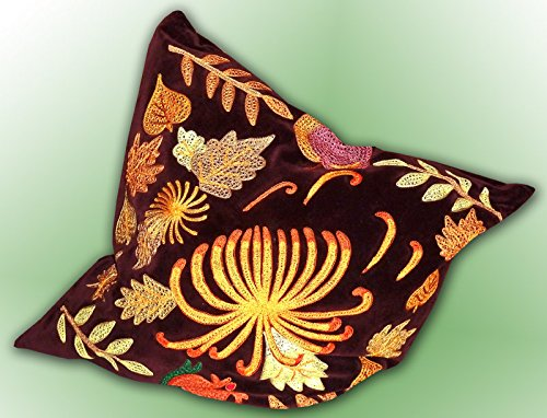 MARVELOUS UZBEK SILK EMBROIDERED PILLOW CASE SUZANI ''LEAF FALL'' A1690 by Uzbek PILLOW CASE