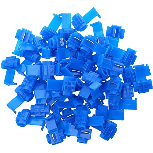 AIRIC 100pcs 16-14 Gauge Double Run Solderless Wire Connectors Tap In Quick Splice Connector Electrical Wire Splice Connectors