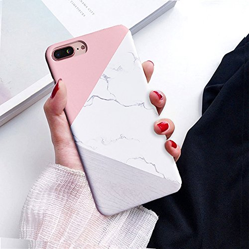 iPhone 8 Plus Case, iPhone 7 Plus Case, Jwest Marble Design Pink Geometric Anti-Scratch &Fingerprint Shock Proof Thin Non Slip Matte Back Hard Protective Cover for Apple iPhone 7 Plus / iPhone 8 (Pink Phone Case)
