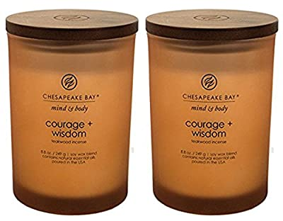 Chesapeake Bay Candle Scented Candles, Courage + Wisdom (Teakwood Incense), Medium (2-Pack)