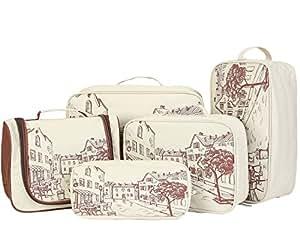 LYCEEM Golbal Series 5PC Travel Packing Cubes Kit 1 Toiletry Bag + 1 Shoe Bag + 2 Packing Cubes + 1 Electronics Organizer Case Europe Town Beige