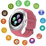 Bluetooth Smart Watch Touch Screen DMDG Smart Fitness Watch with Touch Screen Unlocked Watch Cell Phone with Sim Card Slot,Smart Wrist Watch for Kids Girls Boys Men Women (Pink)