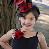 Feather Corsage-Coquille-Hackle-Jewel Red/Black