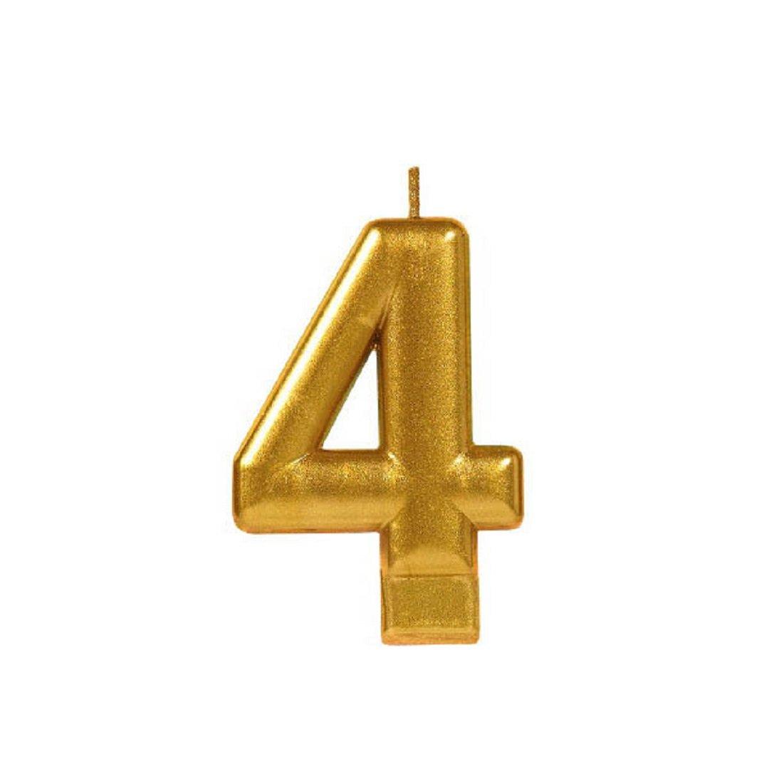 Zugar Land Numeral # Metallic Birthday Cake Candle (3.25'') Metallic Shiny Gold (Four - Numeral # 4)