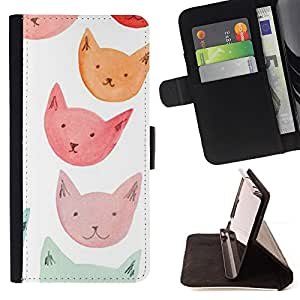 For Sony Xperia M2 Pink Orange Red Blue Cat Faces Style PU Leather Case Wallet Flip Stand Flap Closure Cover