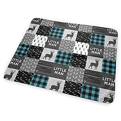 Little Man Light Teal and Black (Buck) Quilt Woodland CBS Bed Pad Washable Waterproof Urine Pads for Baby Toddler Children and Adults 31.5 X 25.5 inch