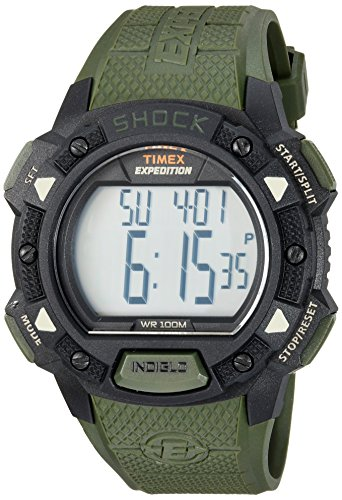 Timex Men's TW4B09300 Expedition Base Shock Green/Black Resin Strap Watch (Resin Black Strap)