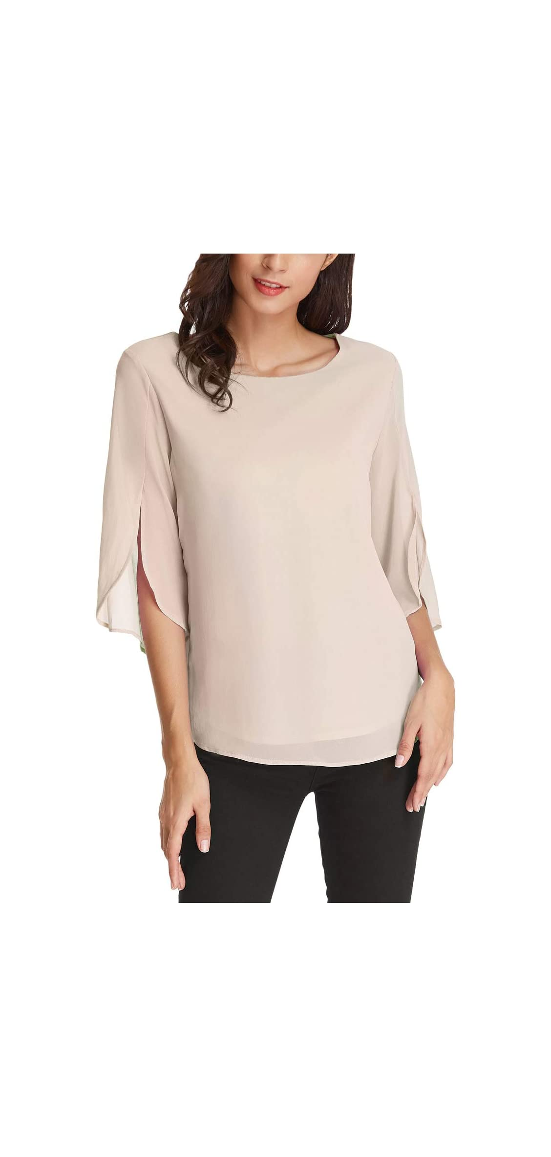 Women's Casual Chiffon Blouse Tops Half Ruffle