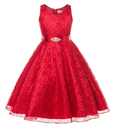 DressForLess Lovely Lace V-Neck Flower Girl Dress (Red, 10)