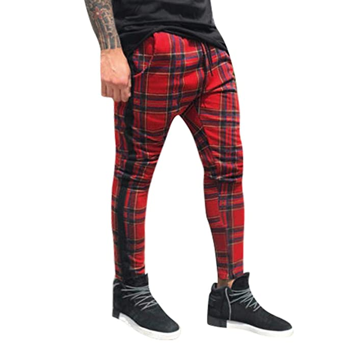 Muranba Mens Casual Pants Slim Fit Drawstring Plaid ...