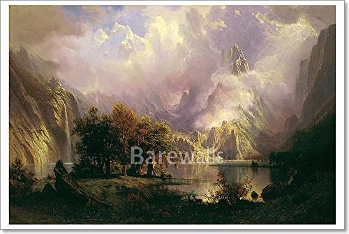 Barewalls Rocky Mountain Landscape by Albert Bierstadt Paper Print Wall Art (24in. x 36in.)