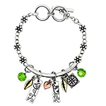 """Garden of Life Hand Stamped 6.5"""" - 7"""" Toggle Bracelet with Six Two Sided Charms, Serentiy"""