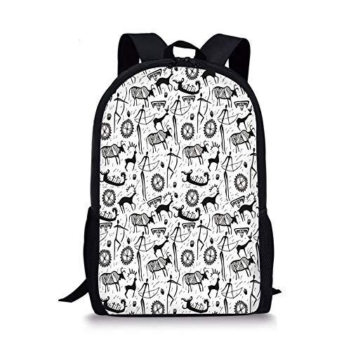 School Bags Tribal Decor,African Primitive Pattern with Cultural Mask Animal and Arrows Folk Design,Black White for Boys&Girls Mens Sport - Decor Folk Primitive