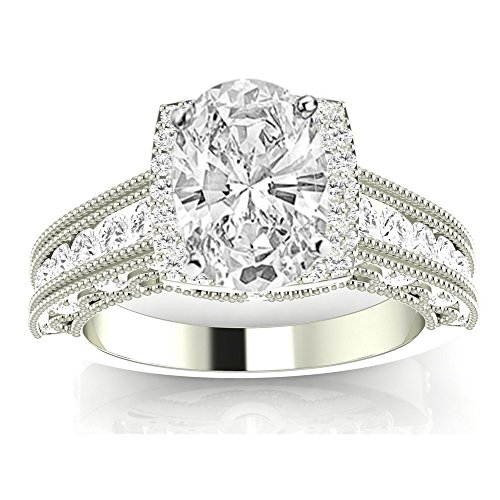 1.75 Ctw 14K White Gold GIA Certified Oval Cut Vintage Halo Style Channel Set Round Brilliant Diamond Engagement Ring Milgrain, 1 Ct I J VS1 VS2 Center