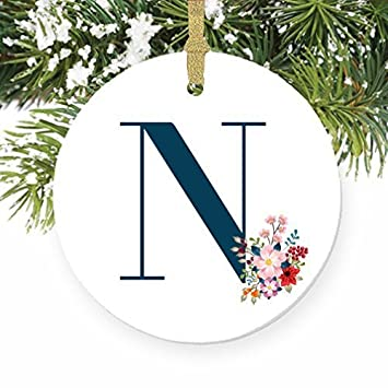 christmas decorations ornament n letter n name n initial christmas monogram ornaments for crafts ceramic - Christmas Decorations Names
