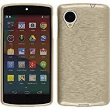 Silicone Case for Google Nexus 5 - brushed gold - Cover PhoneNatic + protective foils