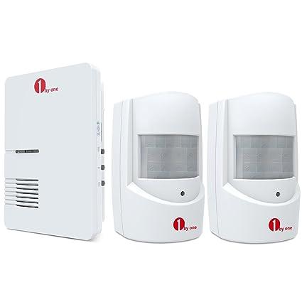 1byone alarma inalámbrica para la seguridad del hogar, alarma de entrada, timbre infrarrojo, receptor enchufable y 2 sensores de movimiento ...