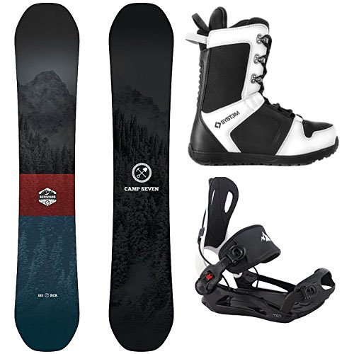 Camp Seven Redwood Snowboard and System MTN Rear Entry Step in Binding Men's Complete Snowboard Package