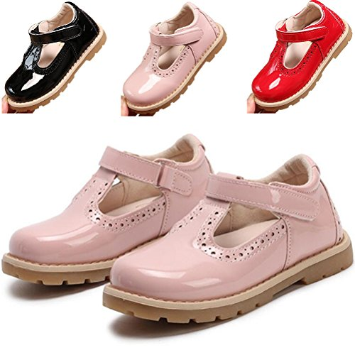 DADAWEN Girl's T-Strap School Uniform Dress Shoe Mary Jane Princess Flat Pink US Size 8.5 M Toddler -