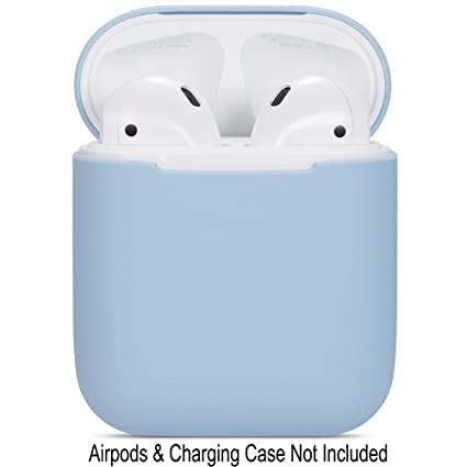 Compatible Airpods Case, Protective Ultra Thin Soft Silicone Shockproof Non Slip Protection Accessories Cover Case For Apple Airpods 2 & 1 Charging Case   Light Blue by Watruer
