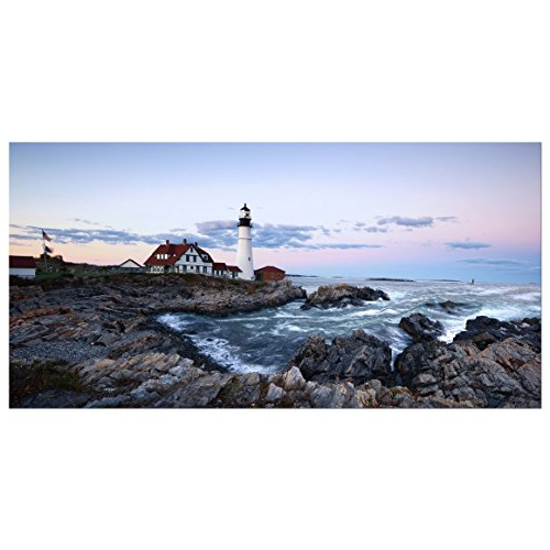 Wieco Art Portland Lighthouse Canvas Prints Wall Art Ocean Sunset Beach Seascape Pictures Paintings for Living Room Bedroom Home Decorations Extra Large Modern Stretched and Framed Sea Skyline Artwork