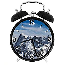one-six-one Picturesque Mont Blanc Cliff to Clouds Idyllic Environment Trekking LandmarkDesk Clock Home Office Unique Decorative Alarm Ring Clock 4in