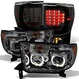 GAZE Toyota Tundra Smoked SMD LED Halo Projector Headligh...