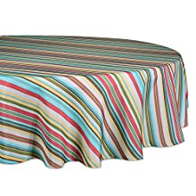 "DII 100% Polyester, Spill proof and Waterproof, Machine Washable, Tablecloth for Outdoor Use, 60"" Round, Warm Summer Stripe, Seats 4 People"