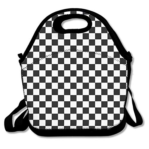 ELKFOREST Black White Plaid Gingham Checkered Lunch Bag Neoprene Insulated Lunch Tote Portable Lunchbox Handbag with Adjustable Crossbody Strap, Zip Closure for Men Women Adults ()