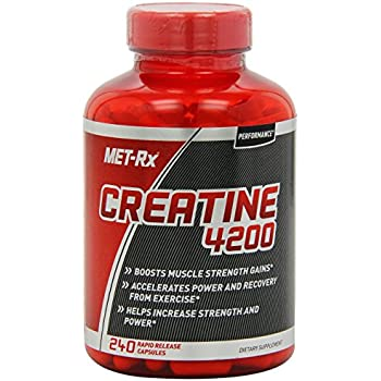 MET-Rx Creatine 4200 Creatine Supplement to Boost Muscle Strength Gains from Working Out and Weightlifting 1 Bottle of 240 Rapid Release Capsules