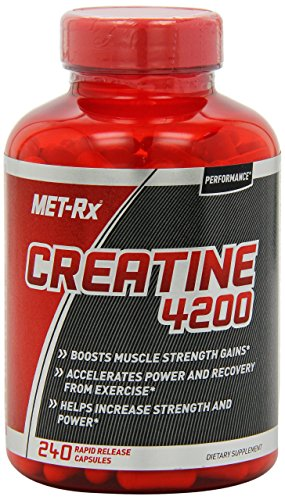 Optimum Nutrition Creatine Powder - MET-Rx Creatine 4200 Supplement, Supports Muscles Pre and Post Workout, 240 Capsules