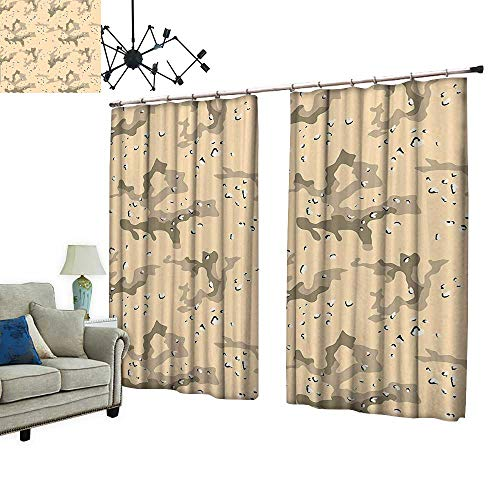 PRUNUS Waterproof Window Curtain Armed Forces Background Hiding in The Desert Theme Design Light Orange Sage Green Sleep Well Blackout Curtain wuth Hook for Bedroom,W84.3 xL96.5