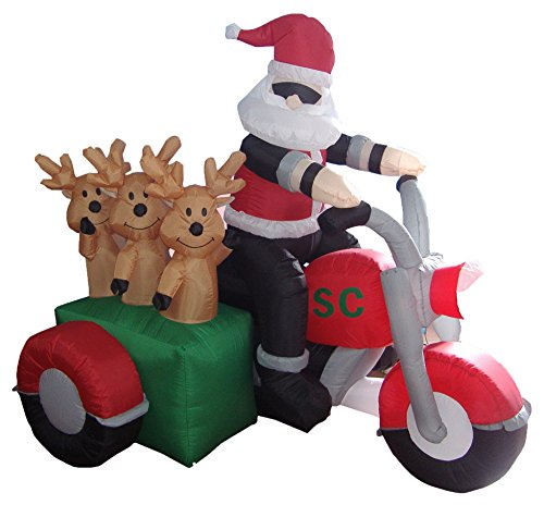 6 Foot Long Inflatable Santa Claus and 3 Reindeers in a Motorcycle for $<!--$79.00-->