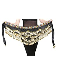Aivtalk Belly Dance Hip Scarf Gold Coins Belly Dance Costume Skirt Wrap Belt