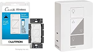 Lutron Caseta Smart Home Dimmer Switch, White & Smart Home Plug-in Lamp Dimmer Switch, Compatible with Alexa, Apple HomeKit, and The Google Assistant | PD-3PCL-WH | White